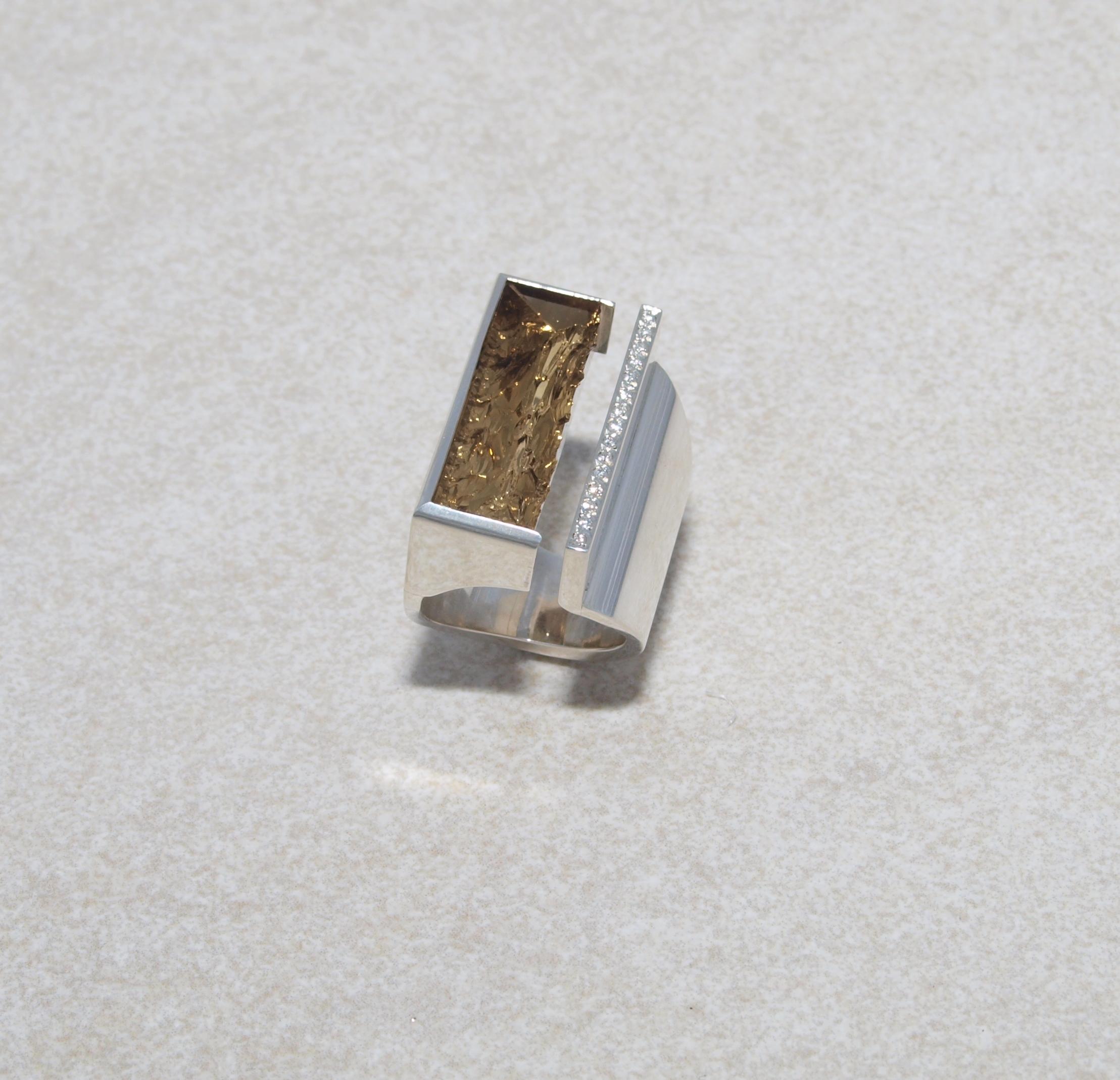 Silberring mit Quarz und Brillanten in Sterlingsilber